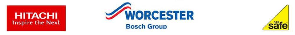 hitachi, worcester bosch and gas safe logos